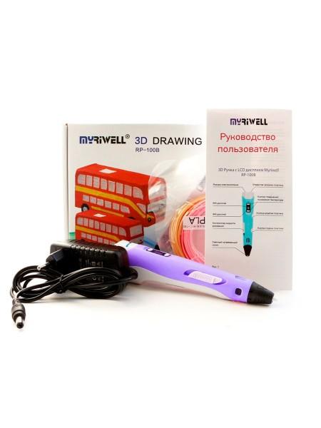 3D ручка Myriwell-2 STEREO с дисплеем (RP-100B) голубой, розовый, желтый, фиолетовый