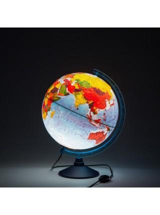 Глобус 32см интерактивный физико-политический с подсветкой от сети