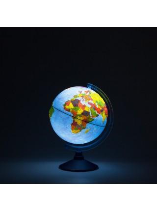 Глобус 25см интерактивный физико-политический рельефный с подсветкой (батарейки)