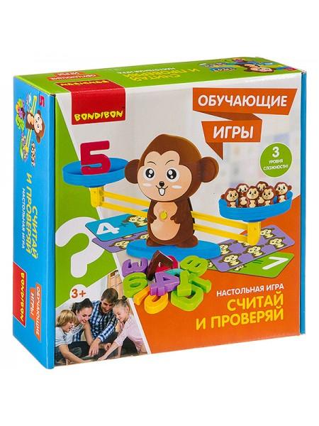 """""""Считай и проверяй"""" с обезьянкой Обучающая настольная игра Bondibon"""
