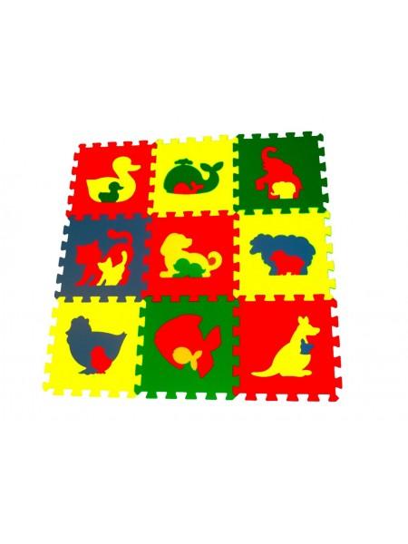 Животные (9 пазлов, 33×33 см) Мягкий пол ECO COVER